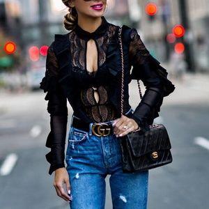 For Love & Lemons Eva Black Lace Ruffle Bodysuit